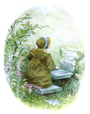 Beatrix Potter illustration of girl and cushions in garden for bedtime story Tiggy Winkle