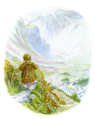 Beatrix Potter illustration of girl exploring forest path for bedtime story Tiggy Winkle