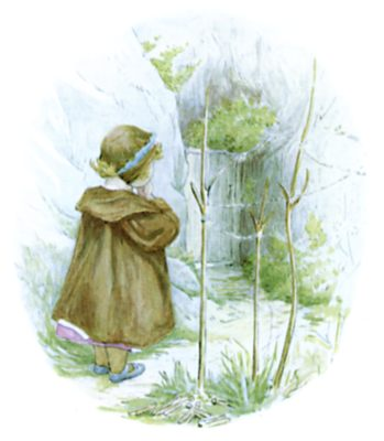 Beatrix Potter illustration of girl waiting in forest for bedtime story Tiggy Winkle