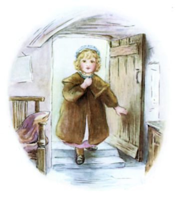 Beatrix Potter illustration of girl opening door for bedtime story Tiggy Winkle
