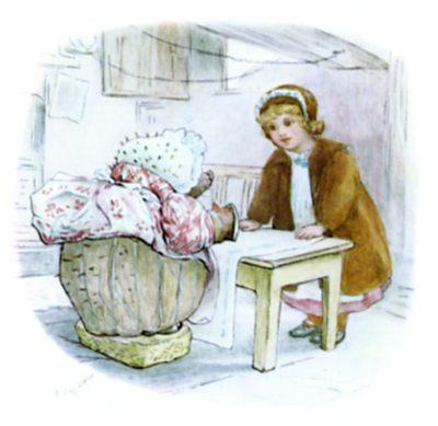 Beatrix Potter illustration of girl and hedgehog talking for bedtime story Tiggy Winkle