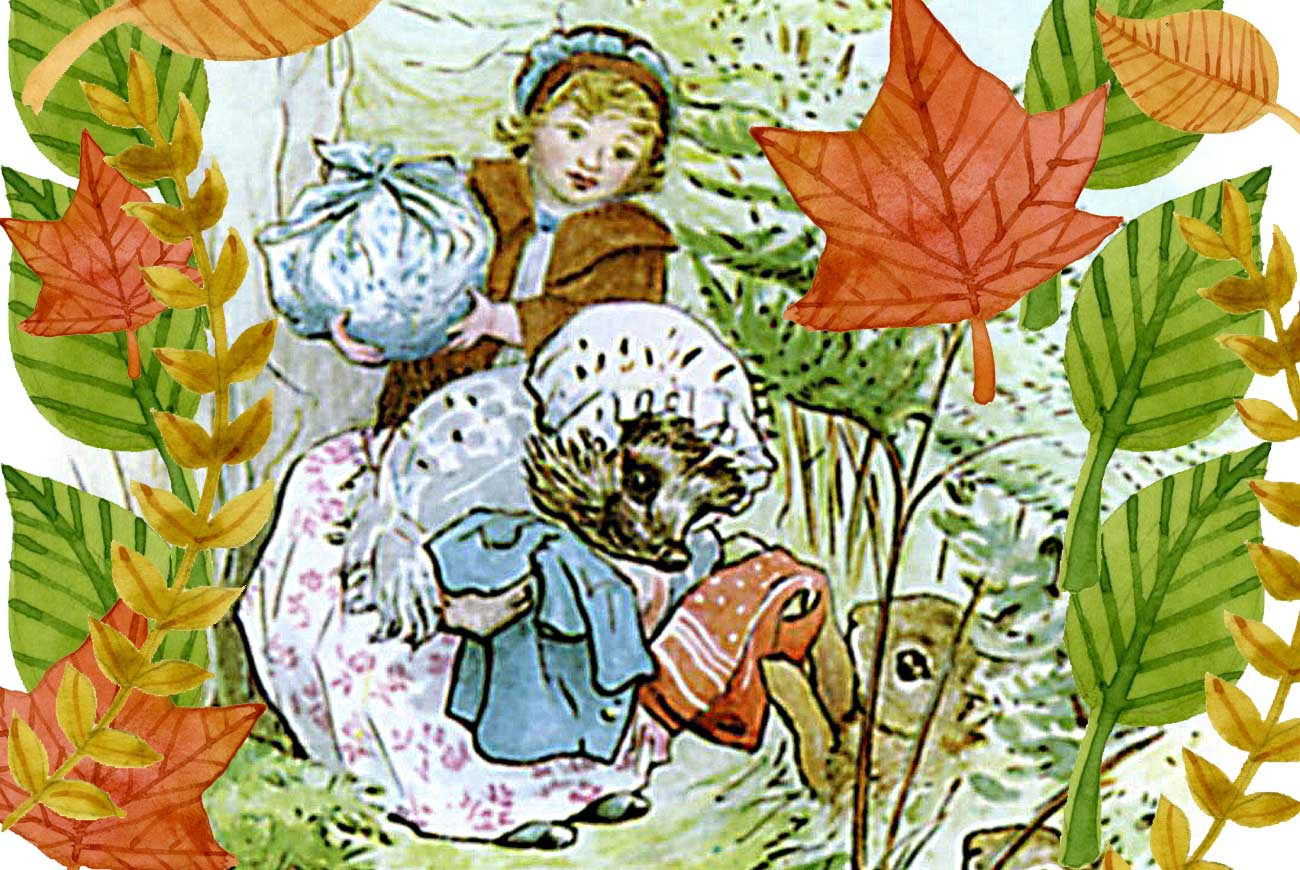 Illustration for bedtime story Beatrix Potter Tiggy Winkle