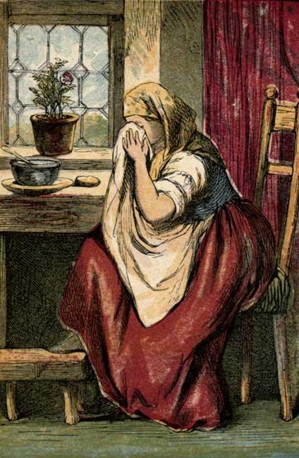 Vintage illustration of crying mother for children's short story Tom Thumb