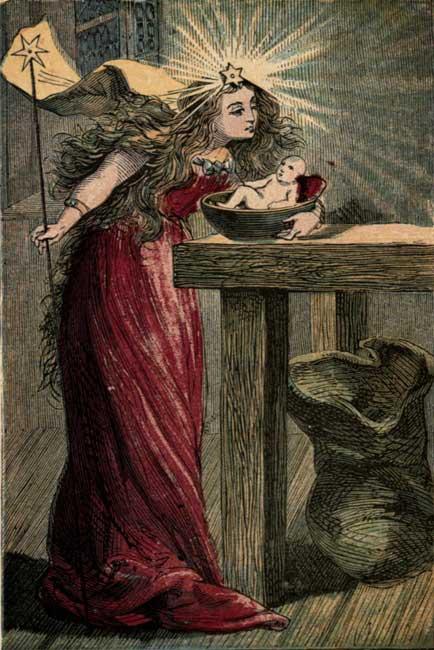 Vintage illustration of mother bathing small baby for children's short story Tom Thumb