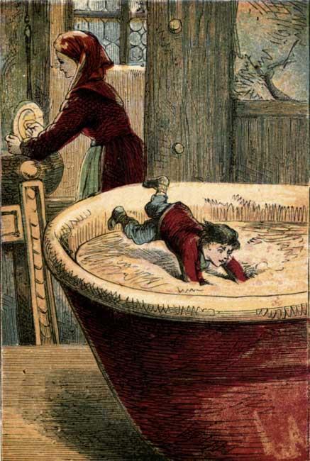 Vintage illustration of small baby falling into salt bowl for children's short story Tom Thumb