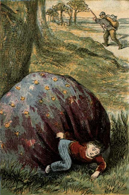 Vintage illustration of little baby hiding behind a stone for children's short story Tom Thumb
