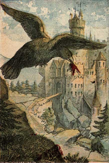 Vintage story book illustration of bird flying by castle for children's short story Tom Thumb