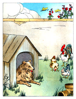 Bedtime stories vintage illustration poultry and dog kennel