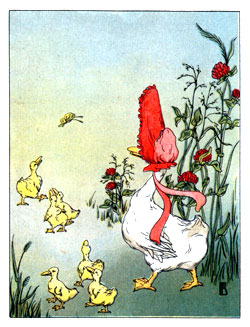 Bedtime stories vintage illustration mamma goose and her chicks walking
