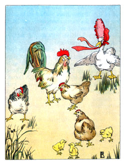Bedtime stories vintage illustration farm fowl talking