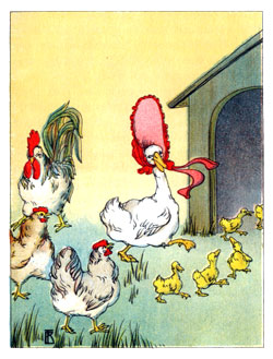 Bedtime stories vintage illustration goose and chicks lead into doghouse