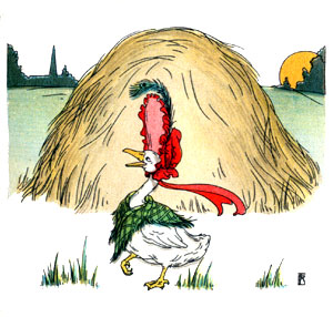 Bedtime stories vintage illustration goose and haystack