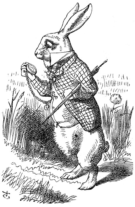 Original children's illustration by John Tenniel of white rabbit and pocket watch from Alice in Wonderland