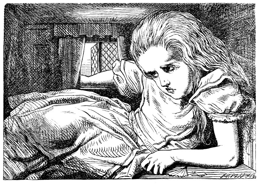 Original children's illustration by John Tenniel of growing girl from Alice in Wonderland