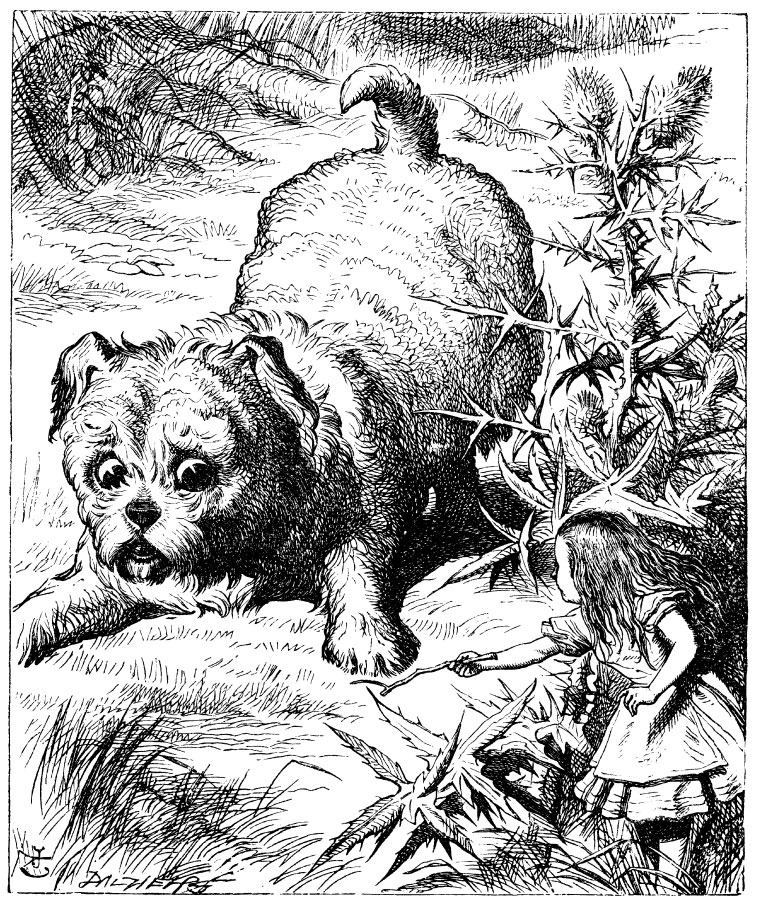 Original children's illustration by John Tenniel of Alice and big puppy from Alice in Wonderland