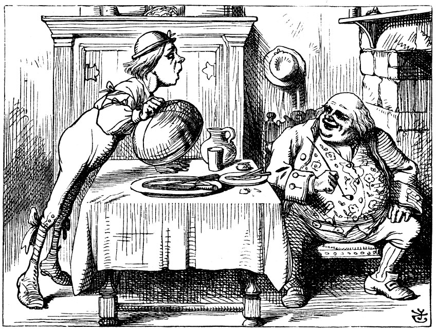 Original children's illustration by John Tenniel of You Are Old Father William from Alice in Wonderland