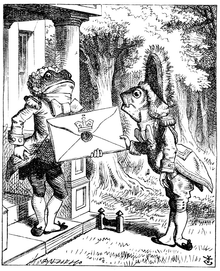 Original children's illustration by John Tenniel of frog delivering letter from Alice in Wonderland