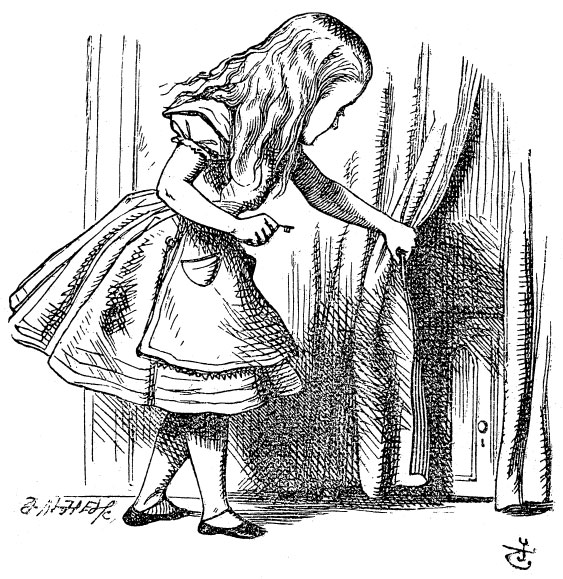 Original children's illustration by John Tenniel of Alice pulling curtain from Alice in Wonderland