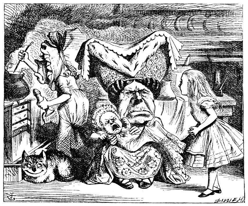 Original children's illustration by John Tenniel of Duchess and baby from Alice in Wonderland
