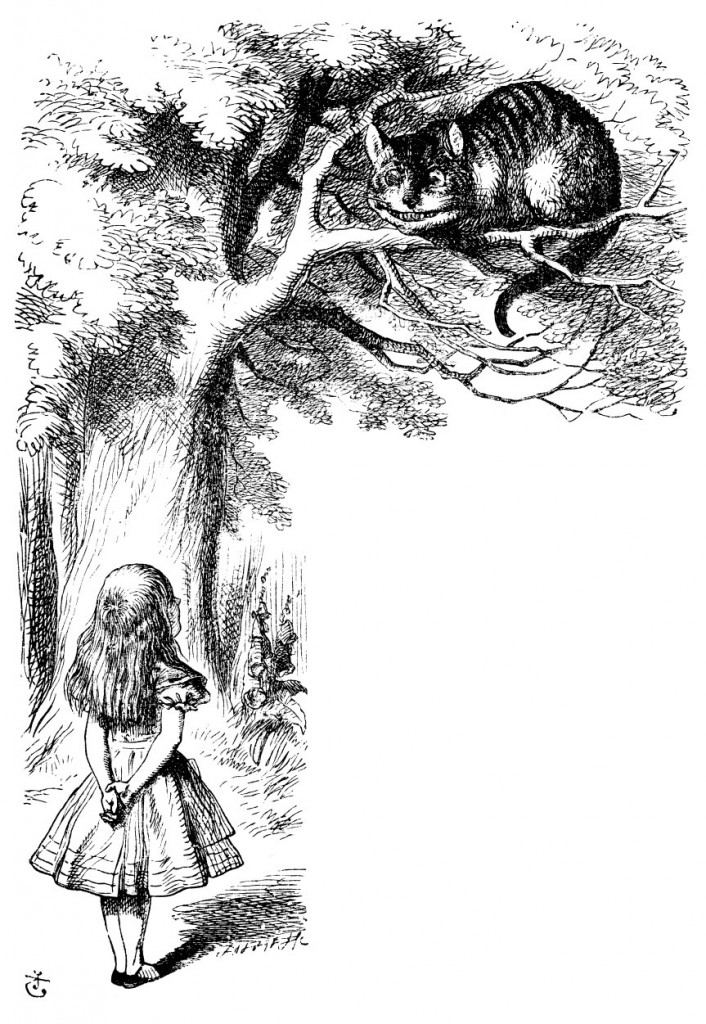 Original children's illustration by John Tenniel of Alice talking to Cheshire Cat from Alice in Wonderland