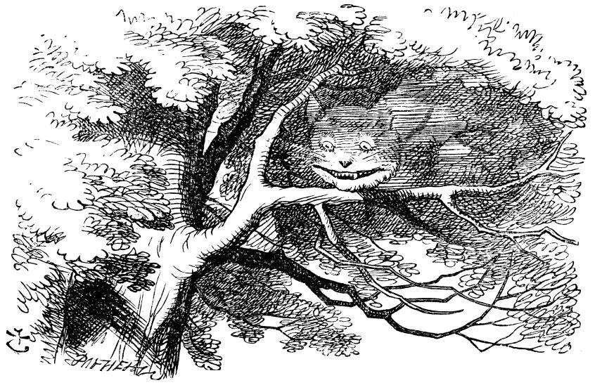 Original children's illustration by John Tenniel of Cheshire Cat from Alice in Wonderland