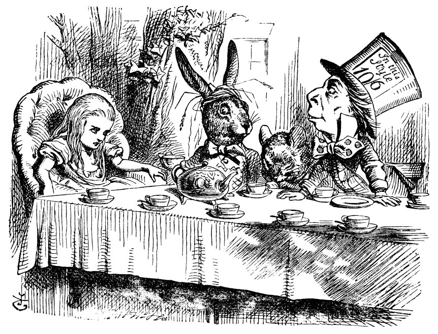 Original children's illustration by John Tenniel of Mad Hatter tea party from Alice in Wonderland