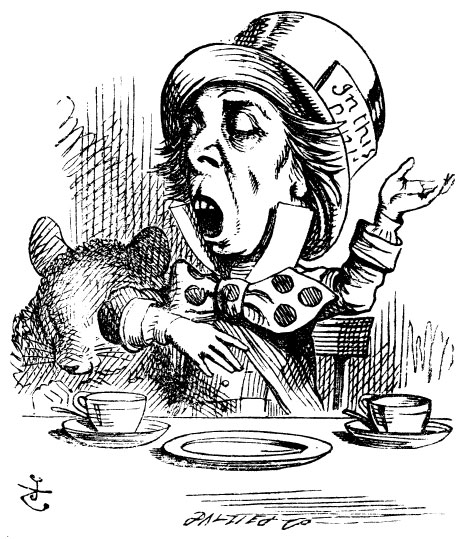Original children's illustration by John Tenniel of Mad Hatter talking in teapot from Alice in Wonderland