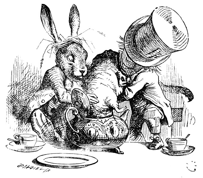 Original children's illustration by John Tenniel of Mad Hatter and March Hare putting dormouse in teapot from Alice in Wonderland