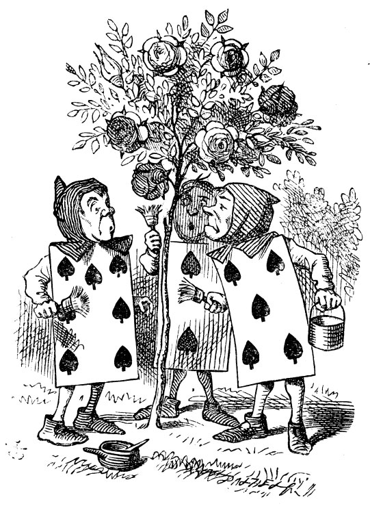 Original children's illustration by John Tenniel of cards painting roses red from Alice in Wonderland