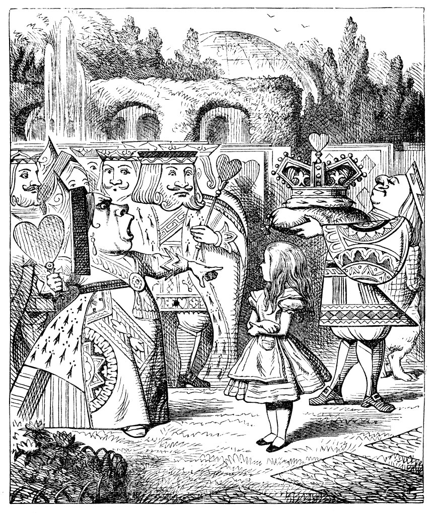 Original children's illustration by John Tenniel of Alice with Queen of Hearts and King of Hearts from Alice in Wonderland