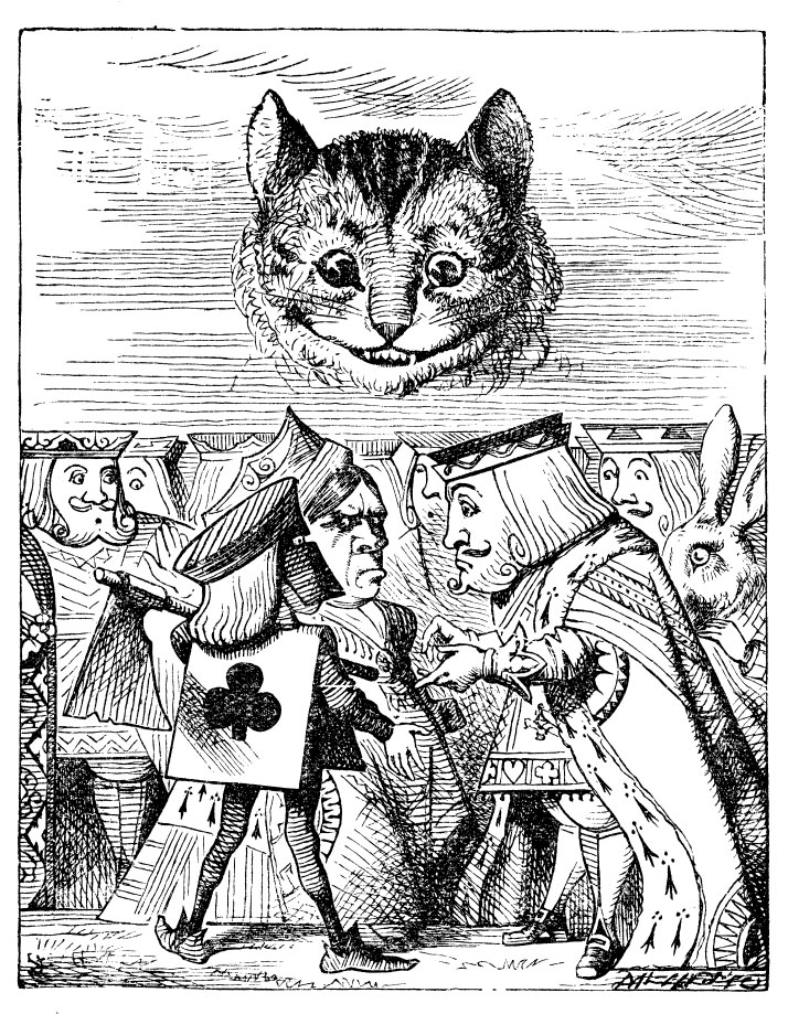 Original children's illustration by John Tenniel of Cheshire Cat and King of Hearts from Alice in Wonderland