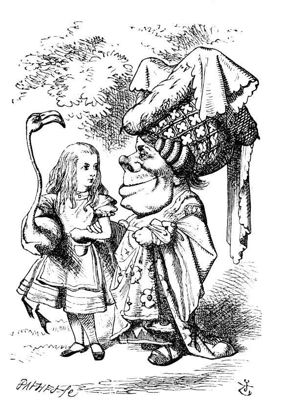 Original children's illustration by John Tenniel of Alice, flamingo and Duchess from Alice in Wonderland