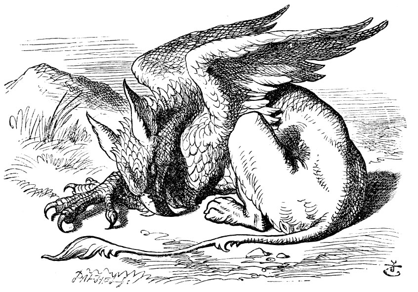 Original children's illustration by John Tenniel of sleeping Gryphon at sea shore from Alice in Wonderland