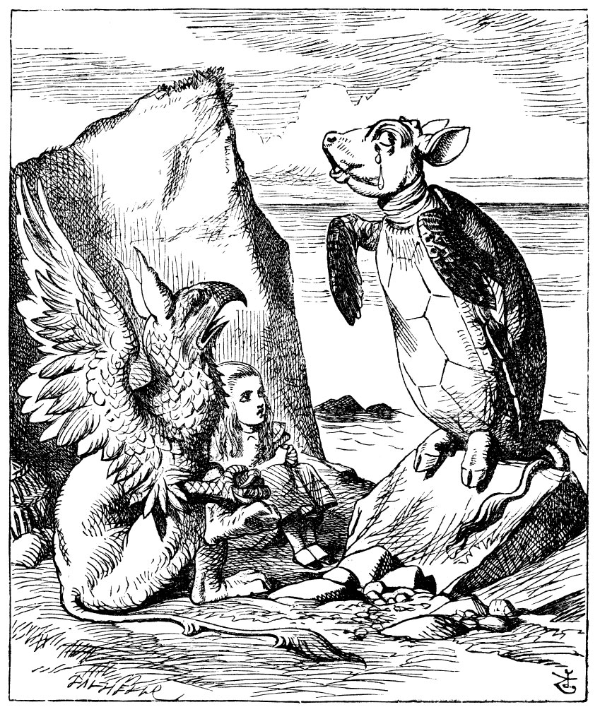 Original children's illustration by John Tenniel of Alice Mock Turtle and Gryphon at sea shore from Alice in Wonderland