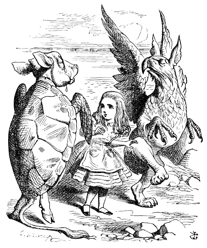 Original children's illustration by John Tenniel of Alice Mock Turtle and Gryphon from Alice in Wonderland