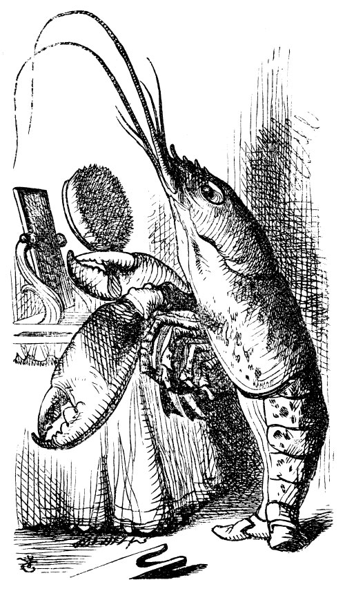 Original children's illustration by John Tenniel of lobster from Alice in Wonderland