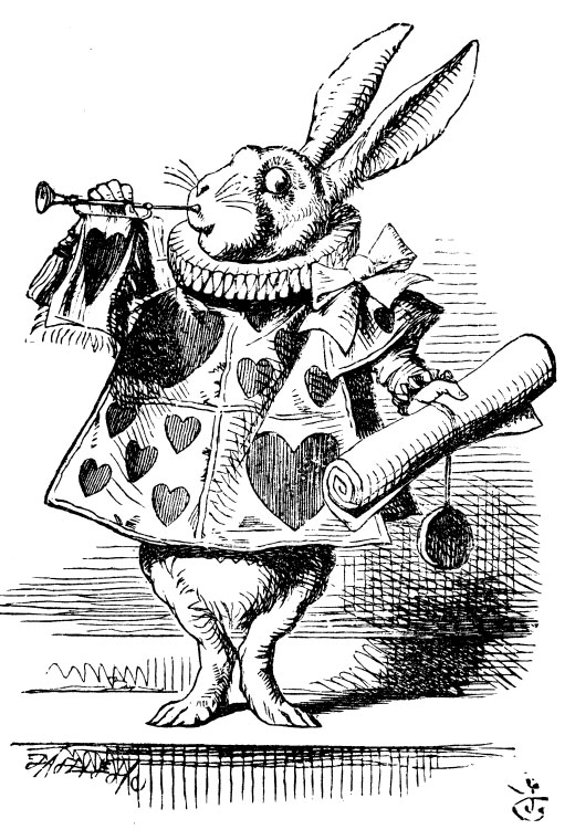 Original children's illustration by John Tenniel of White Rabbit and trumpet and scroll from Alice in Wonderland