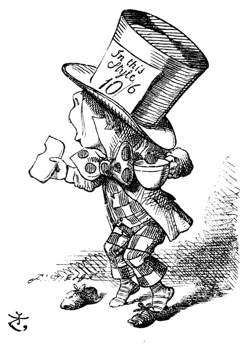 Original children's illustration by John Tenniel of Mad Hatter and buttered bread and cup of tea from Alice in Wonderland