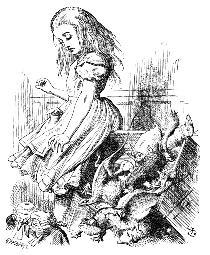 Original children's illustration by John Tenniel of Alice and cards from Alice in Wonderland