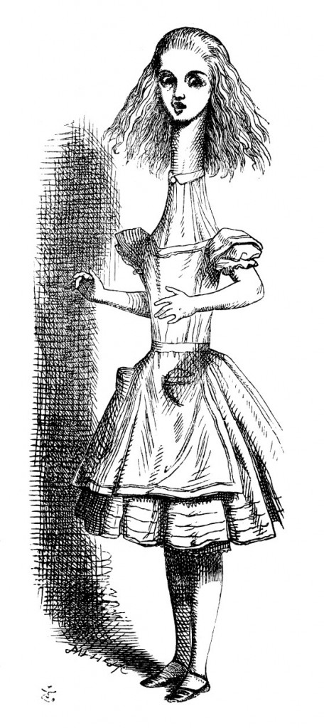 Original children's illustration by John Tenniel of Alice neck stretching from Alice in Wonderland