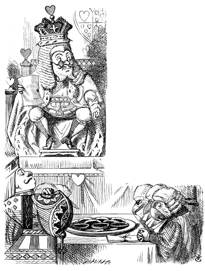 Original children's illustration by John Tenniel of Queen and King of Hearts from Alice in Wonderland