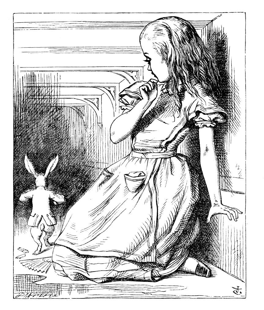 Original children's illustration by John Tenniel of Alice and white rabbit from Alice in Wonderland