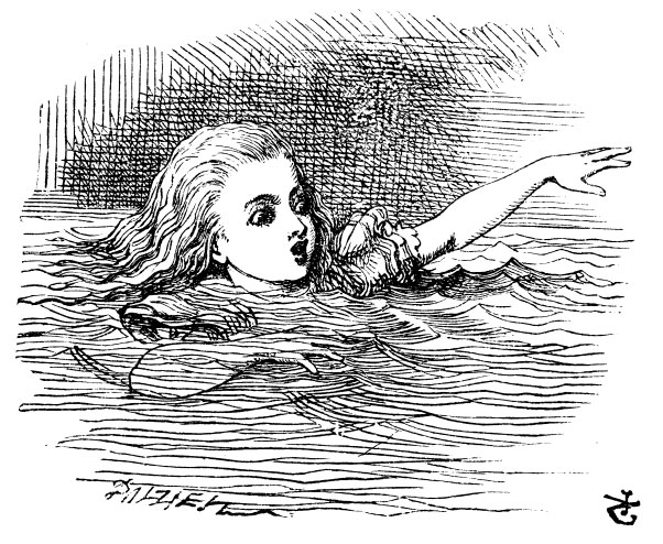 Original children's illustration by John Tenniel of Alice swimming from Alice in Wonderland