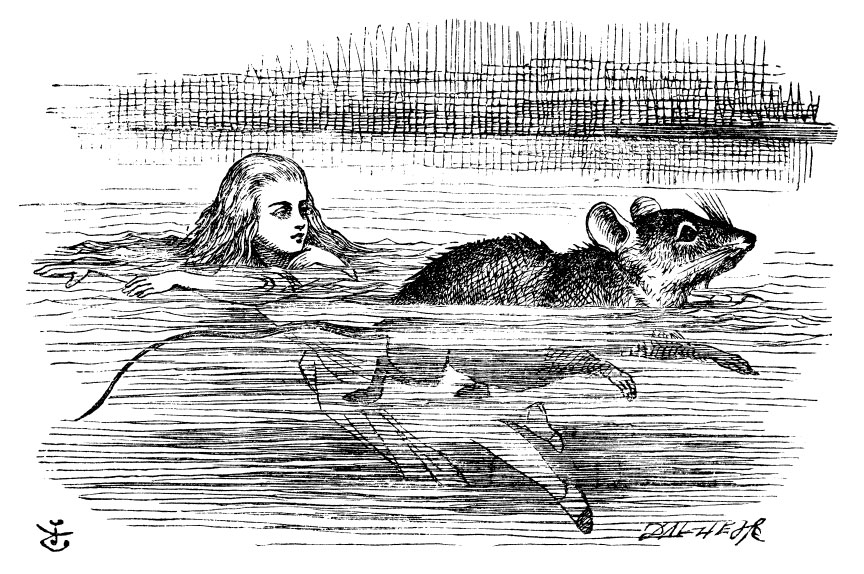 Original children's illustration by John Tenniel of swimming in tears from Alice in Wonderland