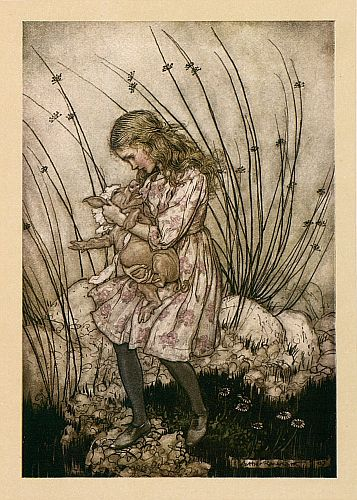 Original children's illustration of Baby Turning Into Pig from Alice in Wonderland