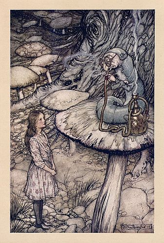 Original children's illustration of Caterpillar from Alice in Wonderland