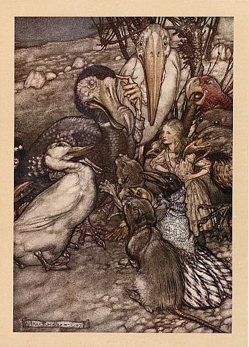 Original children's illustration of Caucus Race from Alice in Wonderland