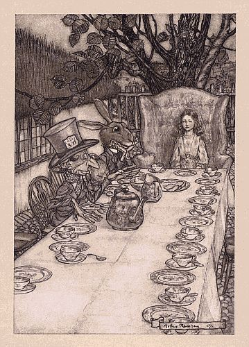 Original children's illustration of Mad Tea Party from Alice in Wonderland