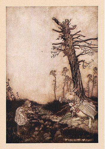 Original children's illustration of Mary Anne and Rabbit from Alice in Wonderland