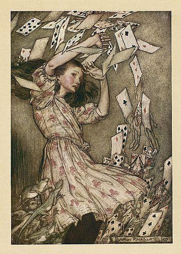Original children's illustration of Pack of Cards from Alice in Wonderland